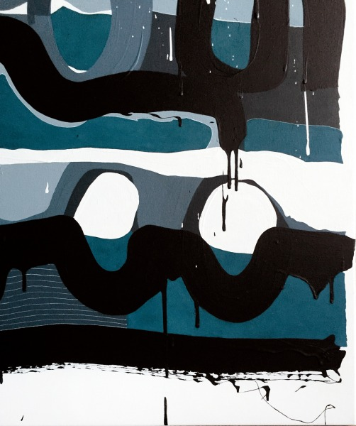 Detail 4 - Blue Note - Painting by Joanna Wolthuizen